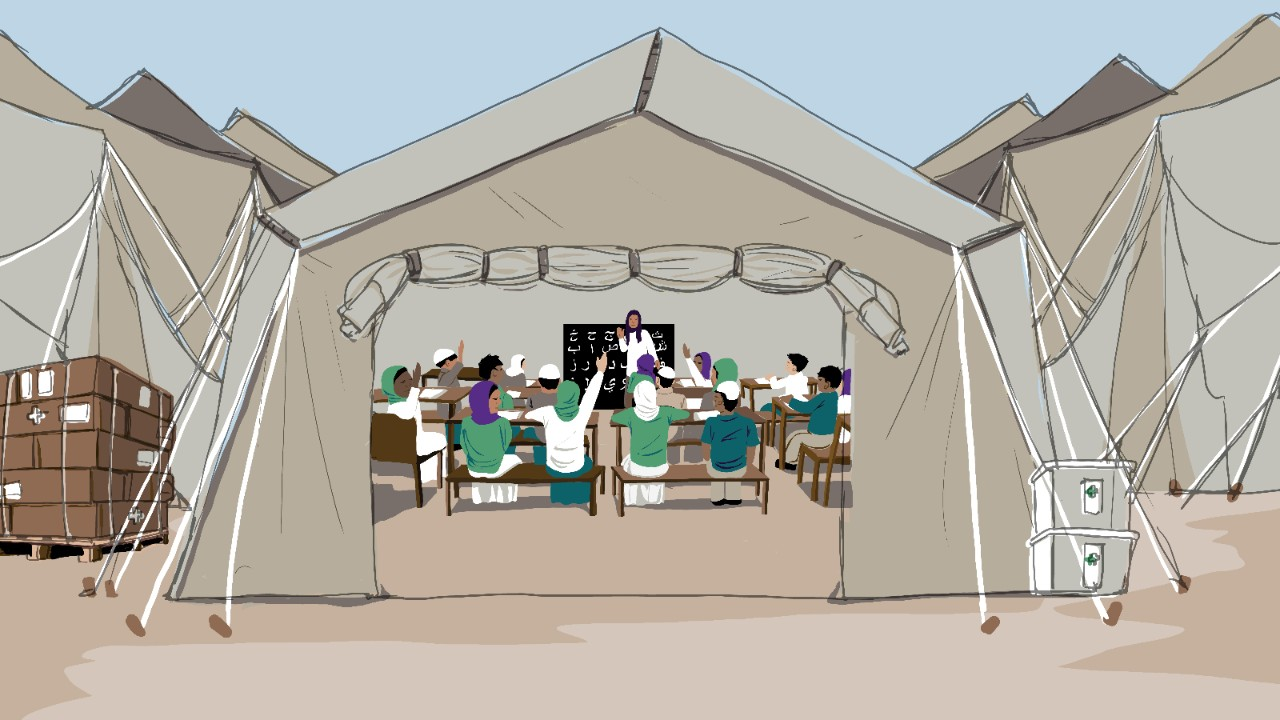 Illustration of refugee students in a makeshift classroom, for the NYU Global TIES research project.