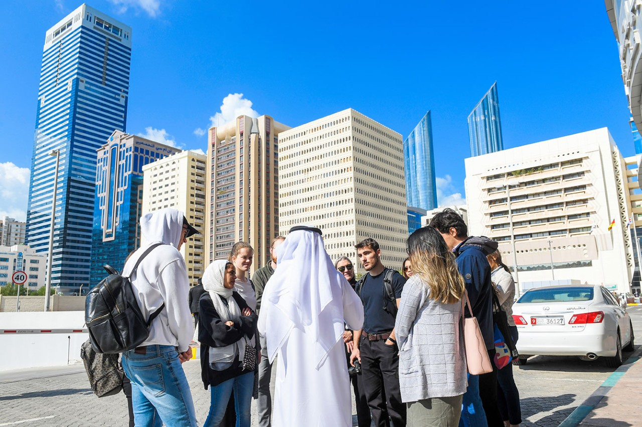 NYU Abu Dhabi students during a field visit in Abu Dhabi city to understand how  our surroundings can impact our well-being.