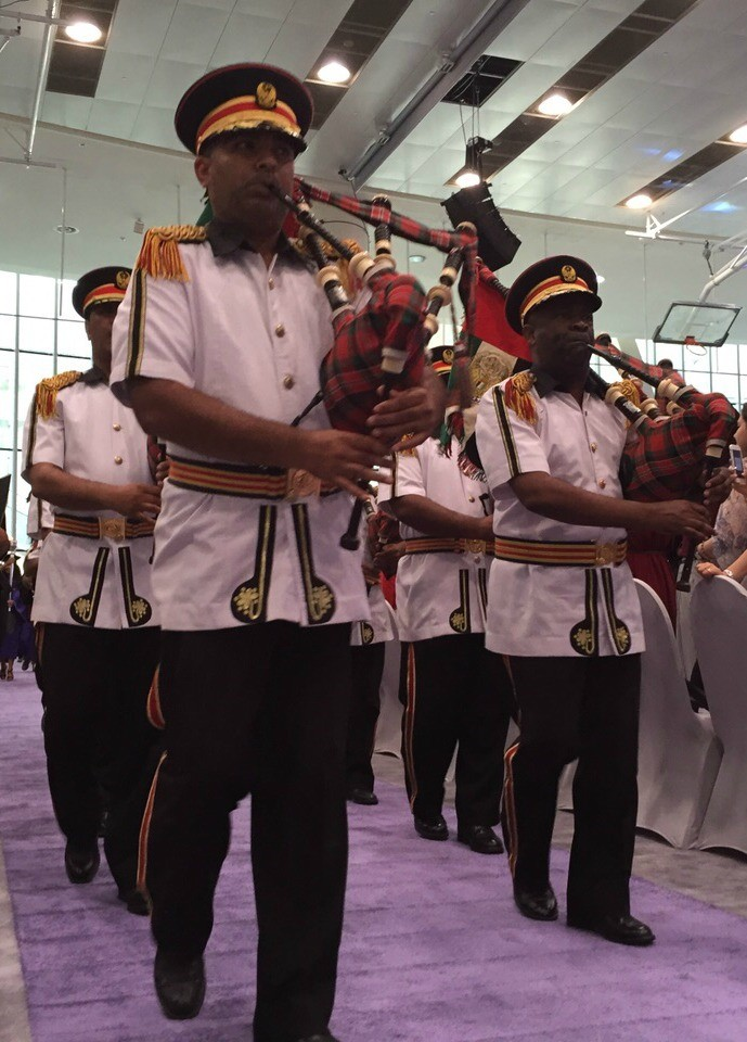 The Abu Dhabi Police Pipe Band during Commencement.