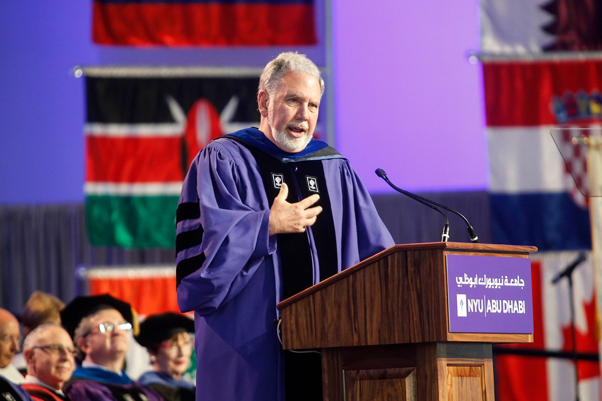 NYU President John Sexton giving a speech during Commencement.
