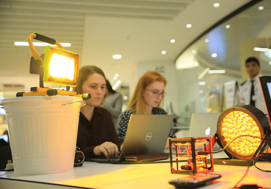 NYUAD students Alison Waterman and Nathalie Launder compete at the UAE Space Hackathon 2018. MBR Space Centre