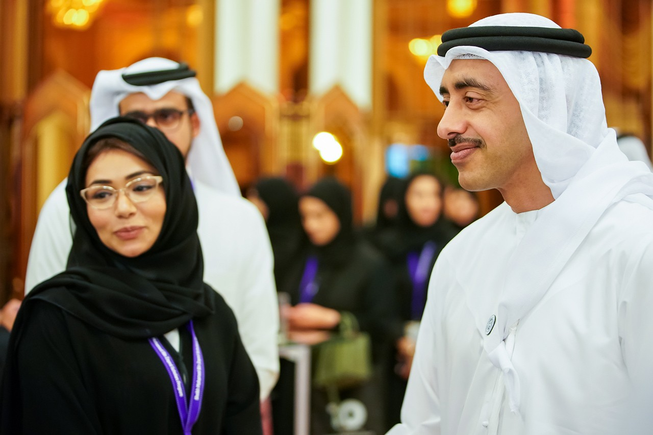 His Highness Sheikh Abdullah bin Zayed Al Nahyan, Minister of Foreign Affairs and International Cooperation (right) attends the 10th anniversary celebration of NYU Abu Dhabi's Sheikh Mohamed bin Zayed Scholars Program.