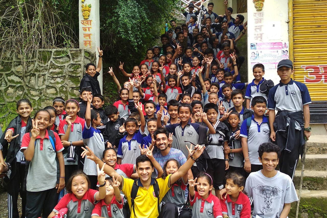 Chandan Mishra with Bloom Nepal School's students