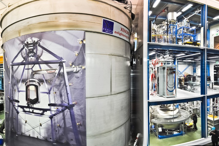 A vacuum-insulated double-wall cryostat (a gigantic version of a thermos flask) contains the cryogenic xenon and the dark matter detector. The xenon gas is cooled and purified in a glass installation three stories high.