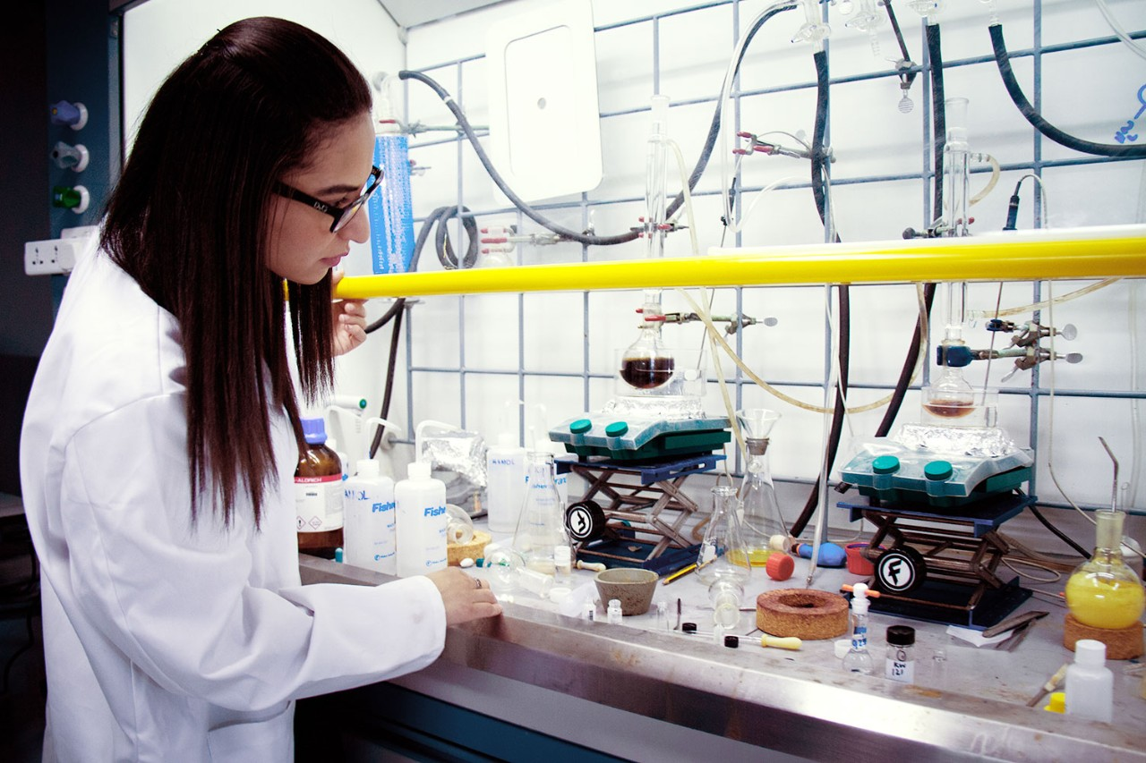 NYUAD Postdoctoral Associate Farah Benyettou at the Center for Science and Engineering.