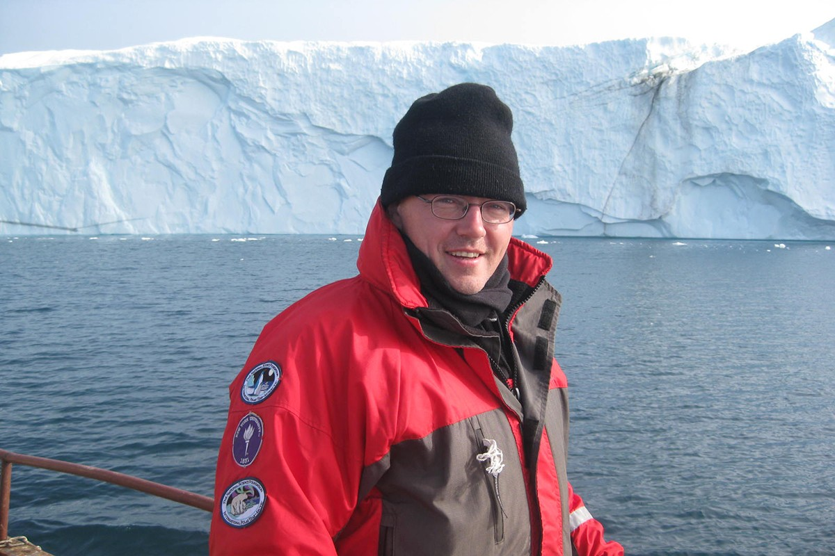 David Holland, mathematician and sea level expert, conducts research in Greenland.
