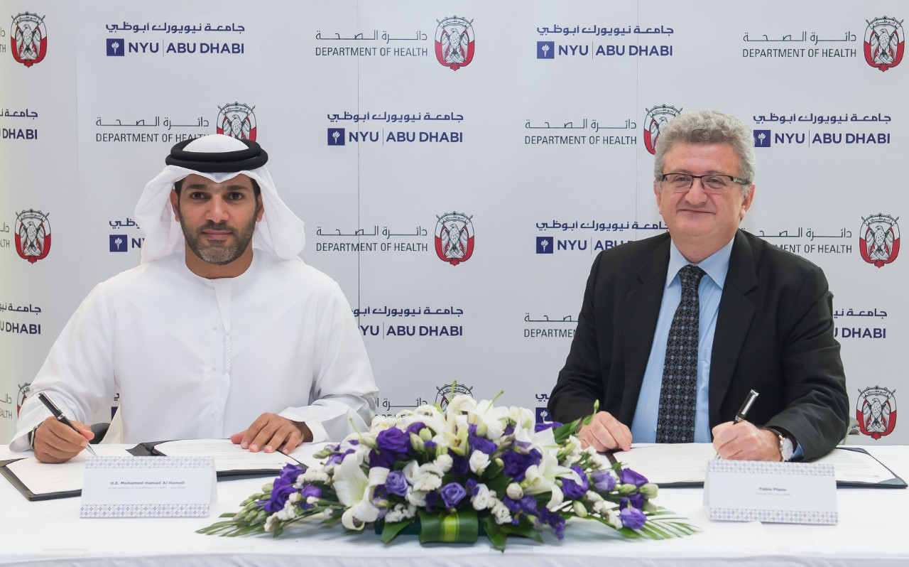 The MOU was signed by H.E. Mohamed Hamad Al Hameli, Undersecretary of DOH, and Fabio Piano, Provost of NYU Abu Dhabi, at the University's campus on Saadiyat Island.