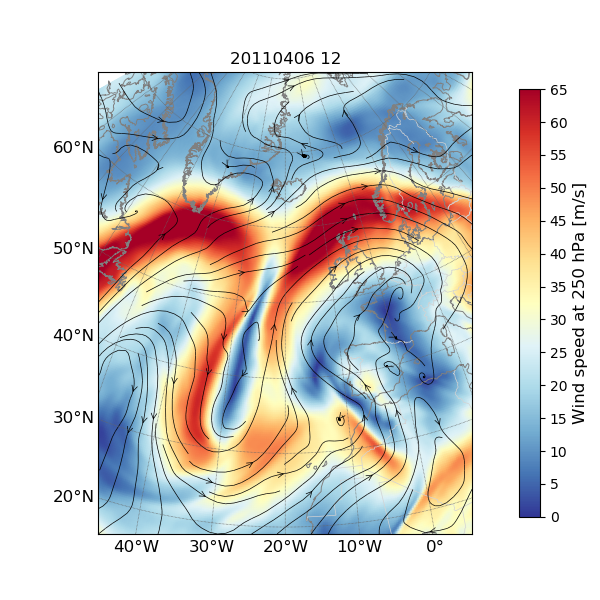 Meandering polar jet stream visible in red colors, upper-level trough visible in blue. European Centre for Medium-Range Weather Forecasts
