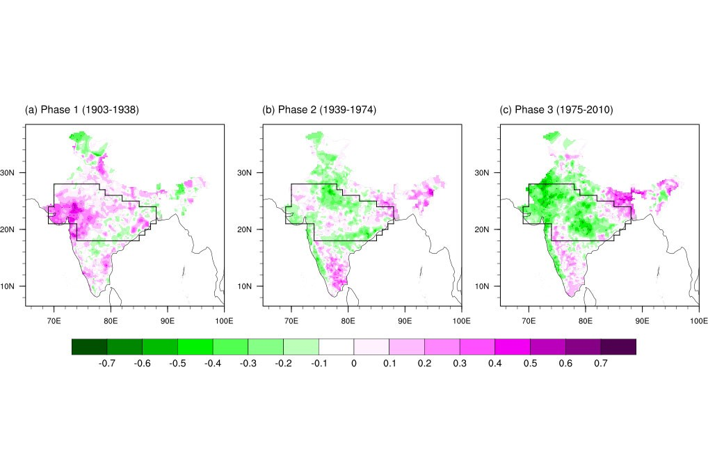 Spatial map of correlation between the summer (June through August) rainfall anomalies and the AZM index .