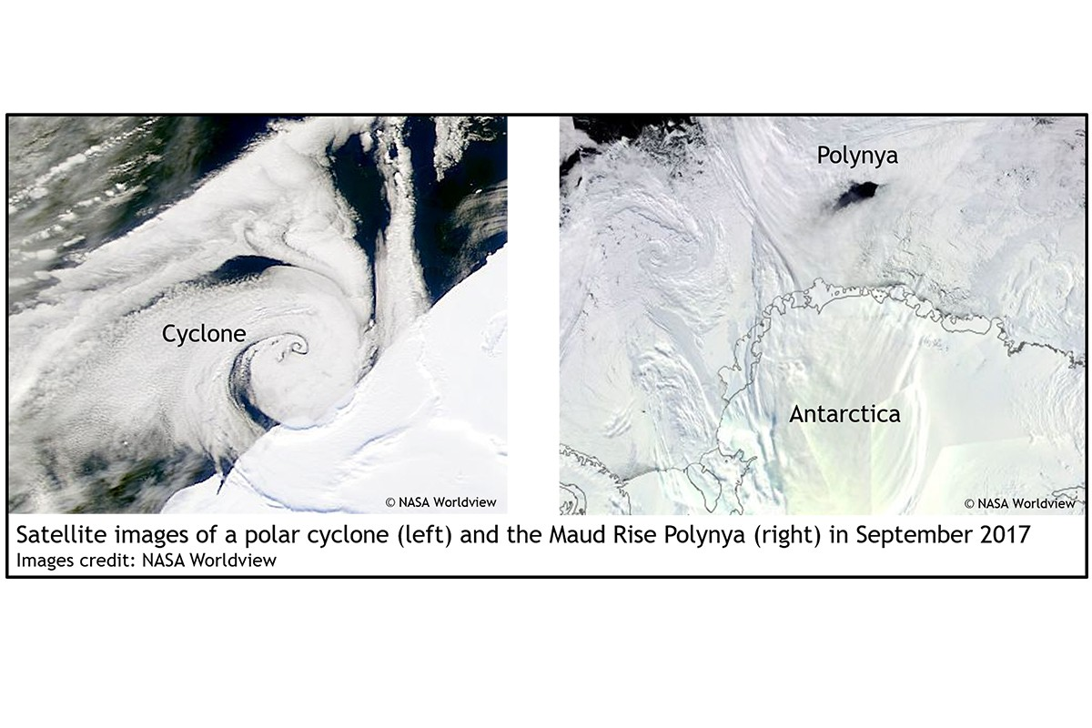 Satellite images of a polar cyclone (left) and the Maud Rise Polynya (right) in September 2017. Images credit - NASA Worldwide.