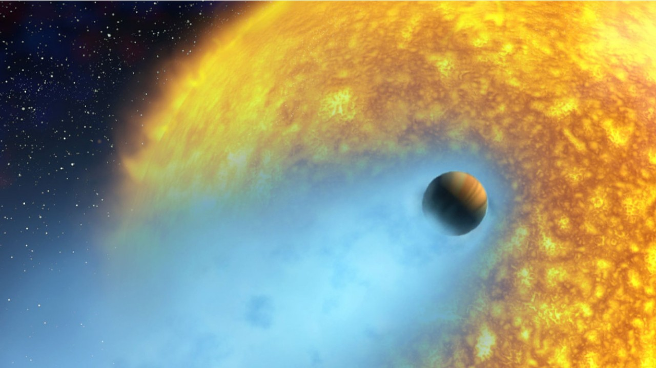 An artist's conception of HD 209458 b, an exoplanet whose atmosphere is being torn off at more than 35,000 km/hour by the radiation of its close-by parent star.