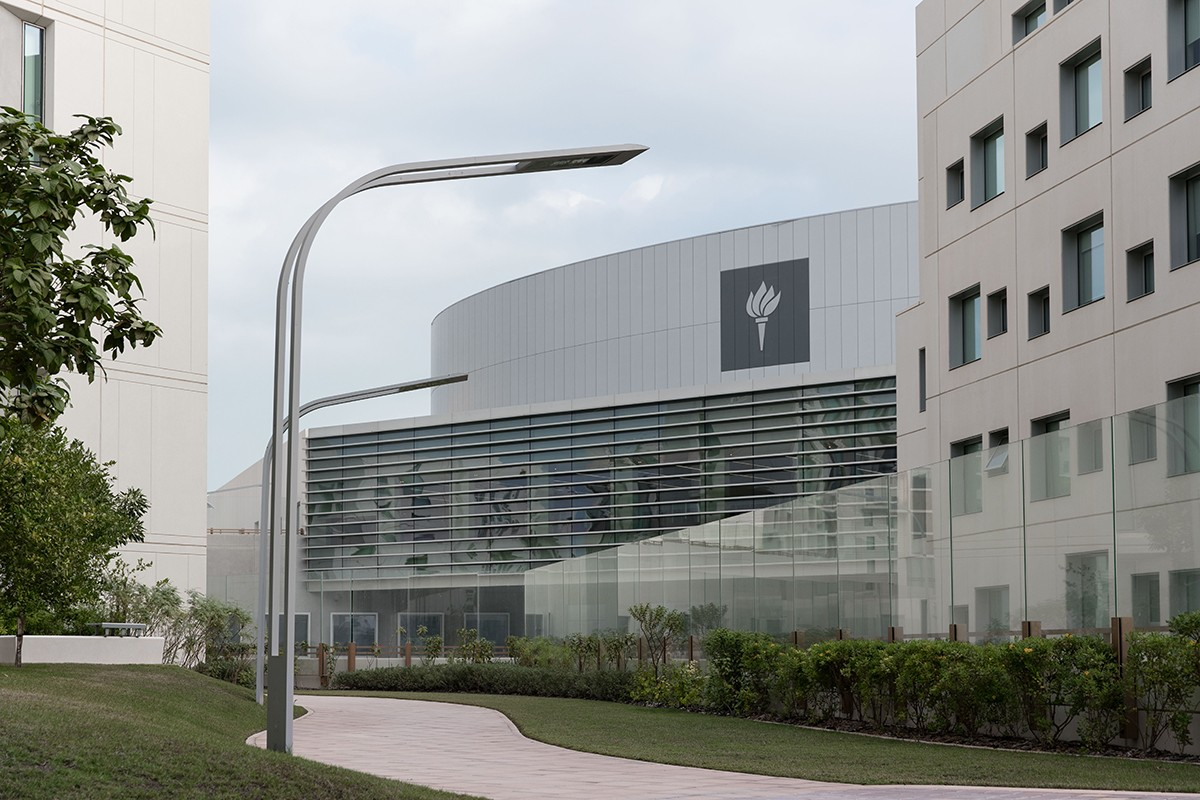 A view of an exterior of the New York University Abu Dhabi campus on Saadiyat Island in Abu Dhabi.