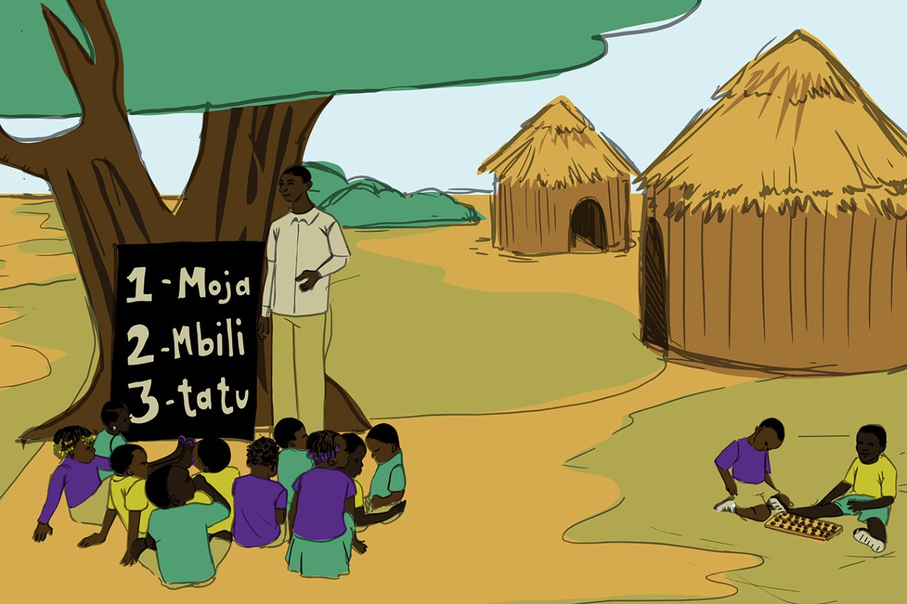 An illustration of the work that Global TIES does in the Congo to help children feel safer in school in conflict-afflicted regions.