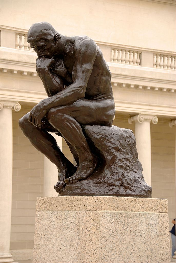 """The Thinker"", a bronze statue by French sculptor Auguste Rodin, is often used as a symbol of philosophy."