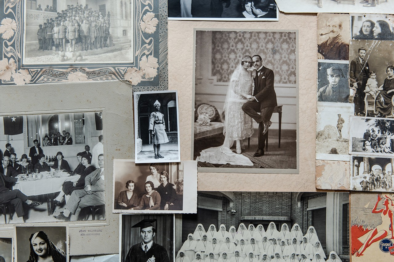 A collage of old, black-and-white photos from Akkasah, Center for Photography.