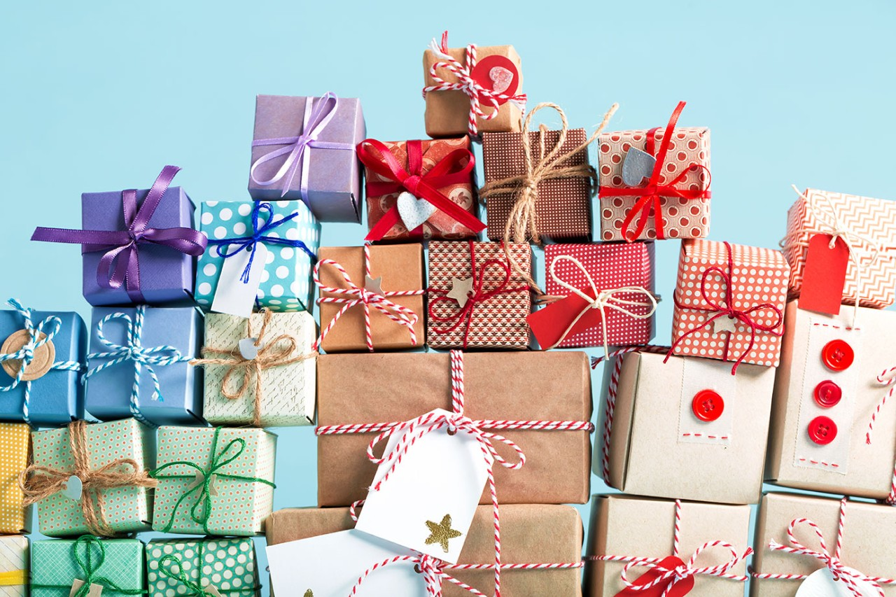 Rows of wrapped up gifts. iStock.com