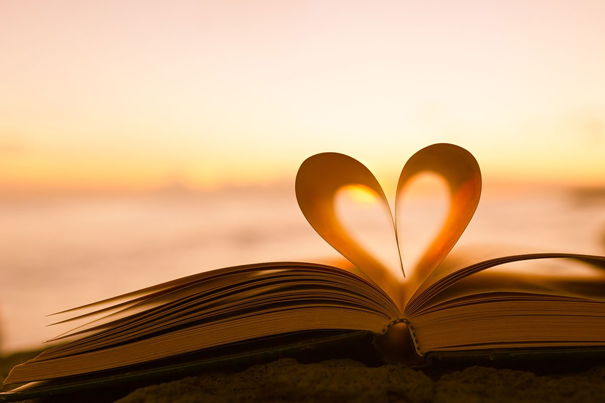 Heart-shaped pages of a book.