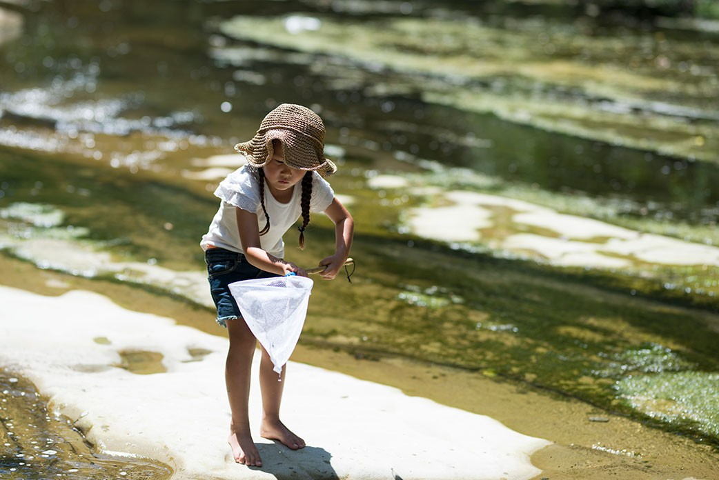A little girl with a net by a stream.