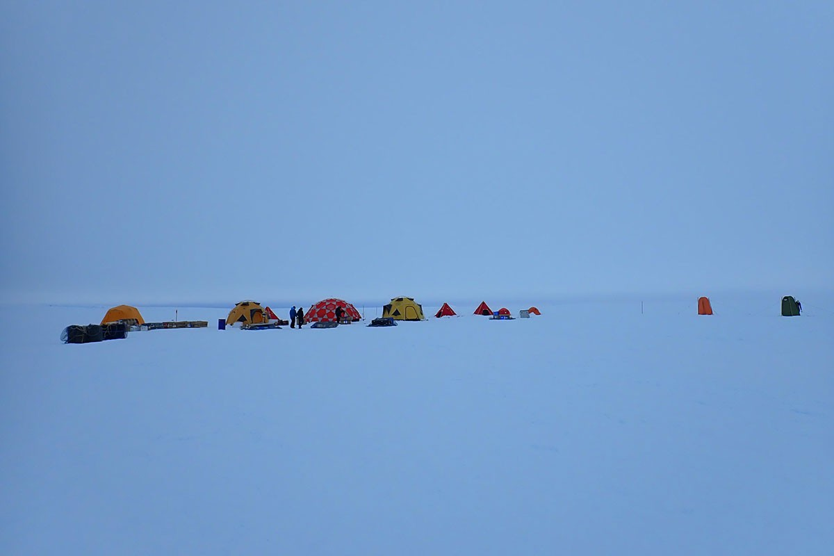 Researchers camp on the ice sheet in the Antarctic.