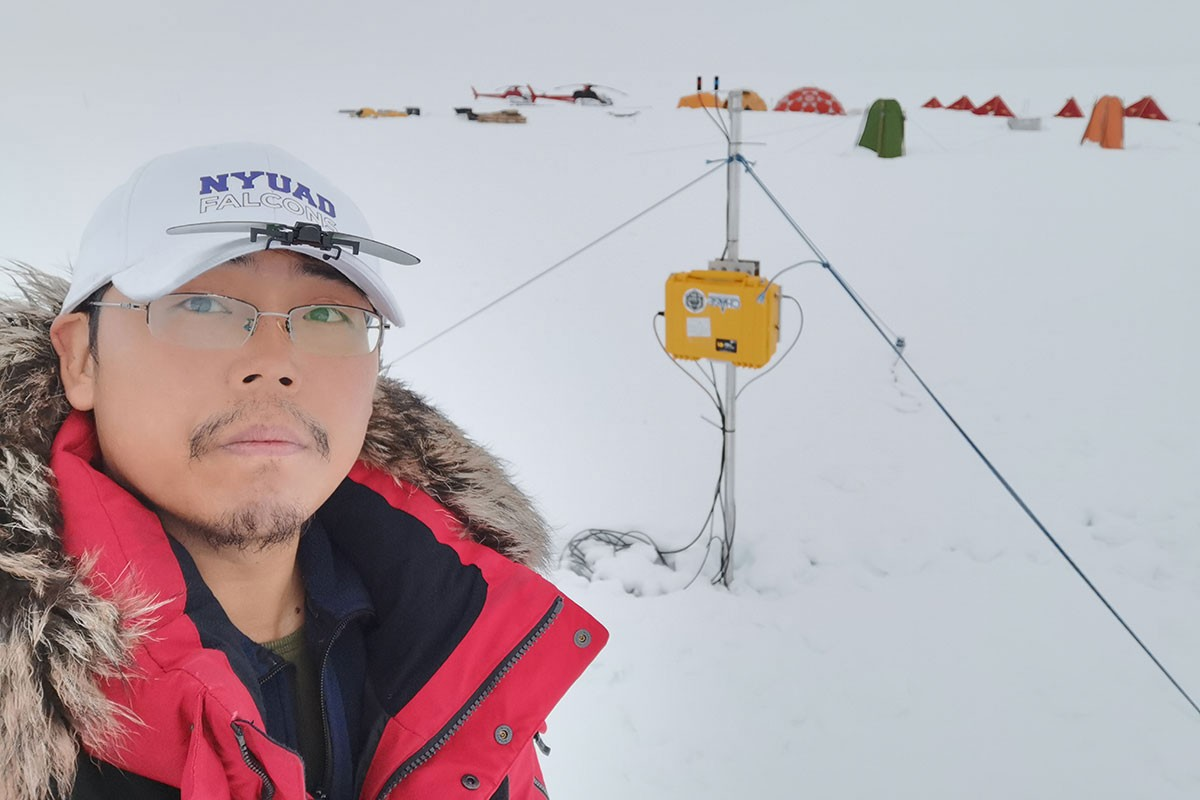 NYU Abu Dhabi research scientist Xianwei Wang in the Antarctic.