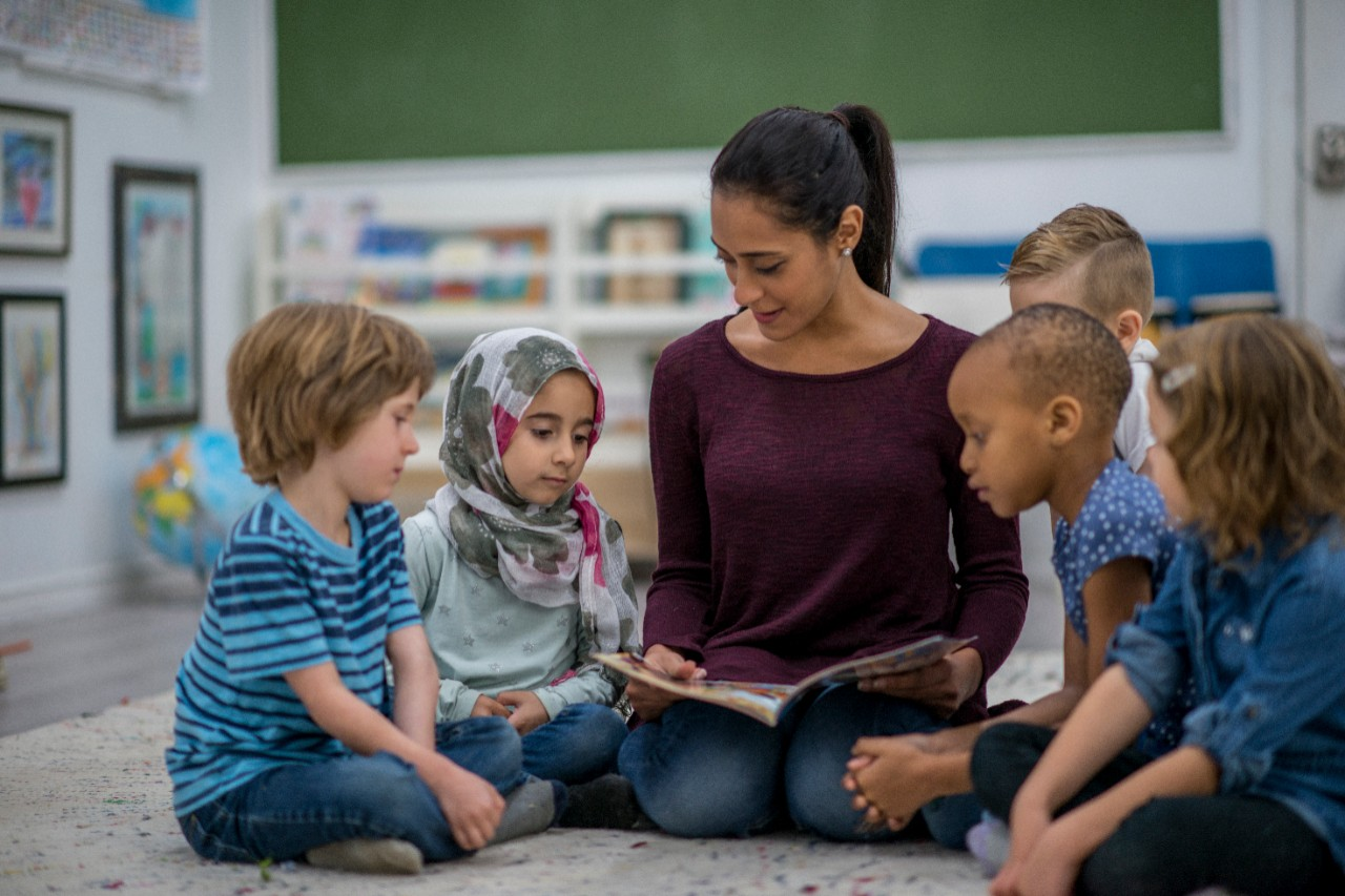 Teacher and children reading