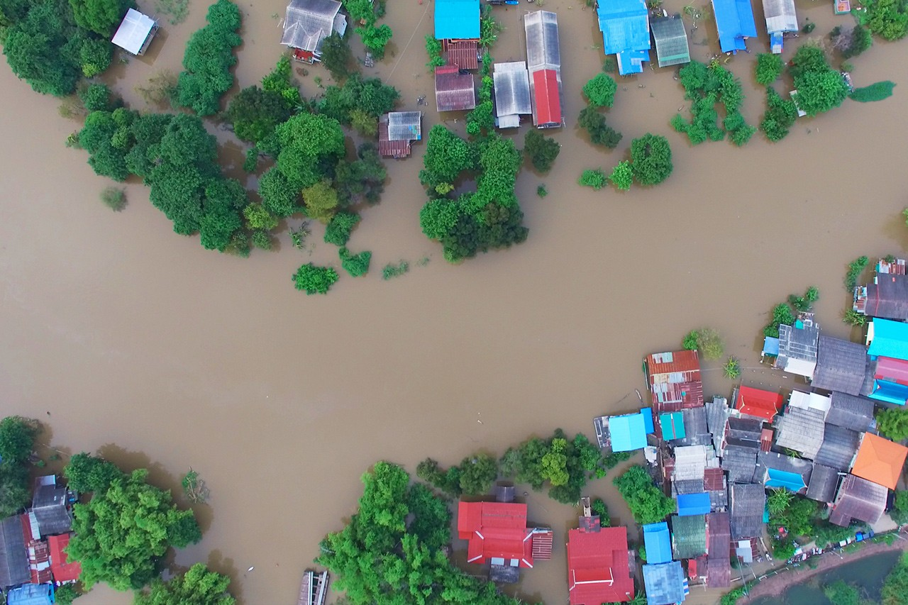 Arial view of a monsoon in a residential community.