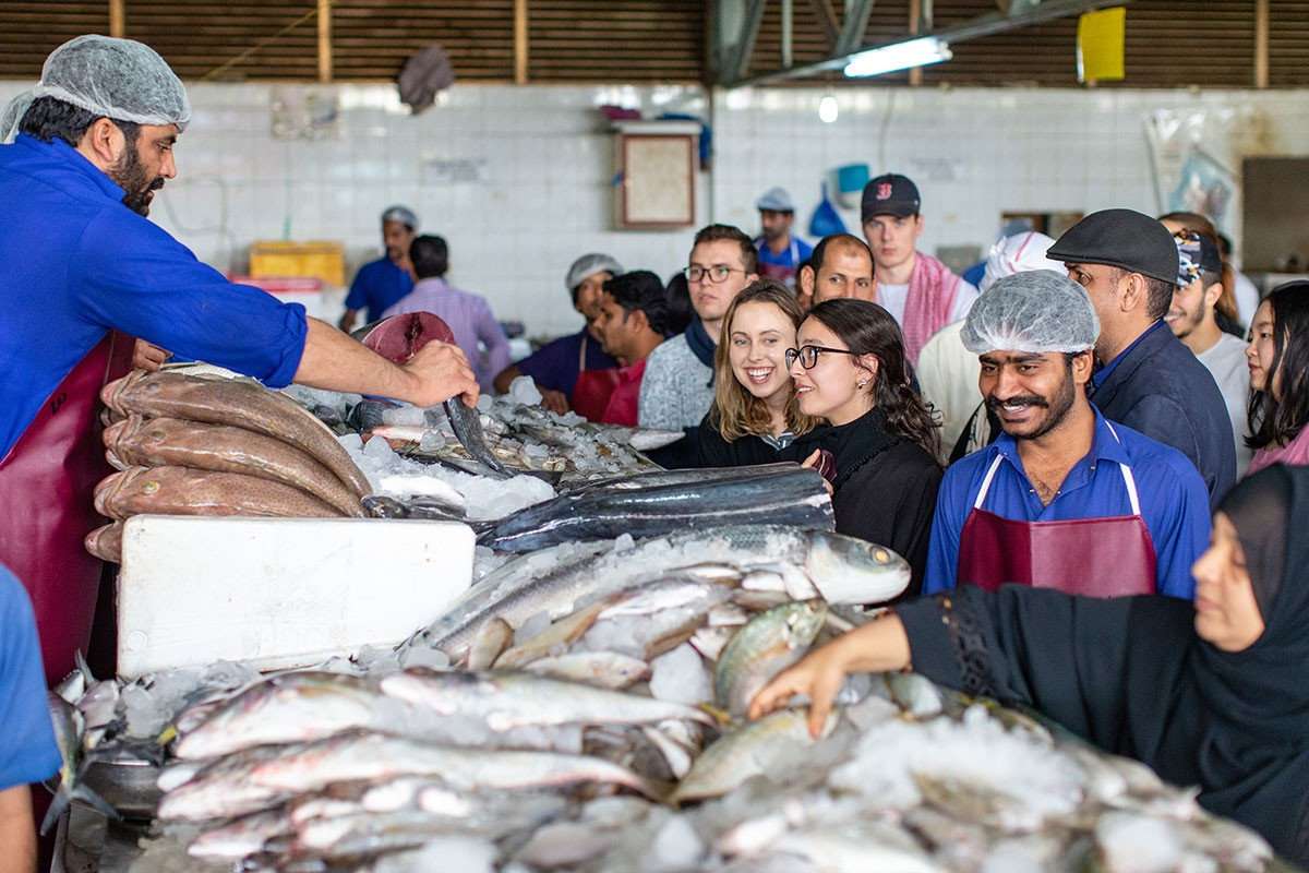 Students visit the fish market in Al Ain.
