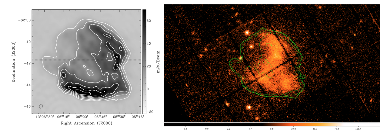 Multi-wavelength images (left: radio, right: X-ray with radio contours) of the supernova remnant Kes 17. Supernova explosions are a source of high energy particles. Image credit: Gelfand et al. 2013 (ApJ, 777, 148)