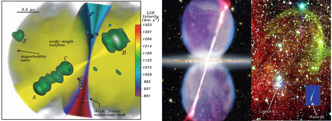 Accretion and ejection of matter from the vicinity of black holes. Left: Model of an active galactic nucleus; center: multi-wavelength image of the active galaxy Cygnus A; right: optical image of the Galactic black hole system, Cygnus X-1 and its jet-powered shocked shell of gas. Image credit: left - Kondratko et al. 2005 (ApJ, 618, 618), center - NASA/CXC/SAO/STScI/NSF/NRAO/AUI/VLA, right - Russell et al. 2007 (MNRAS, 376, 1341).