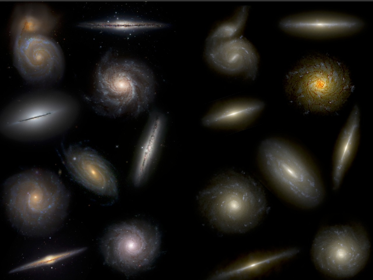 Visual comparison of real (left) and simulated (right) galaxies of different morphologies. Credit: T. Buck (PhD thesis), based on NIHAO simulations (PI: Andrea V. Macciò).