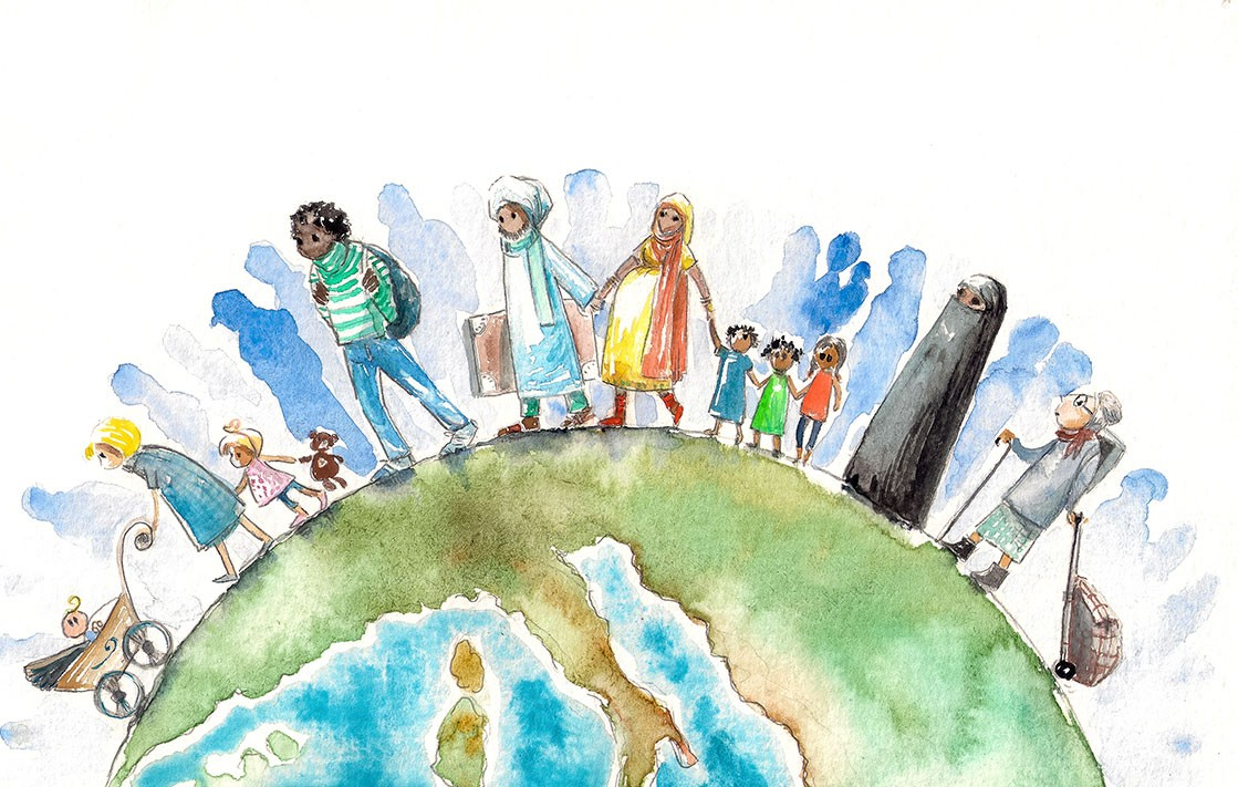 An illustration of migration around the globe with people of different cultures and nationalities. iStock
